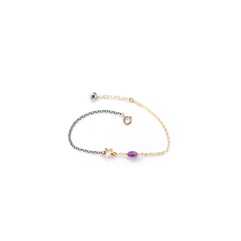Amethyst & Tiny Star Bracelet by Amundsen Jewellery