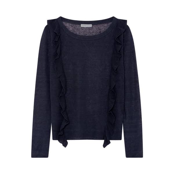 ILLE DE COCOS Linen Ruffle Sweater Navy
