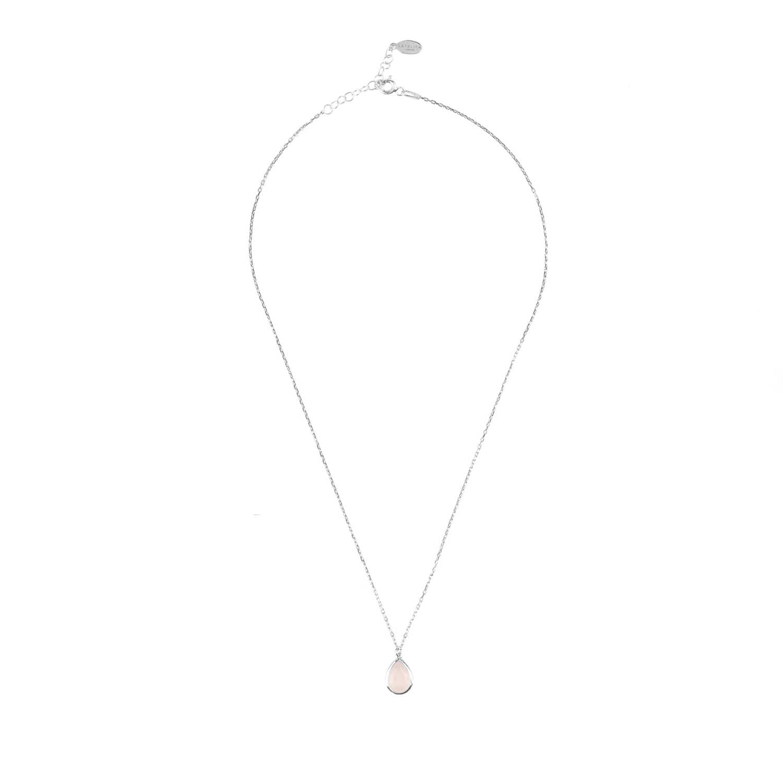 Latelita London Pisa Mini Teardrop Necklace Silver Rose Quartz h54nP