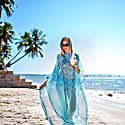 Pure Silk Turquoise Matching Face Mask & Long Kaftan Set image