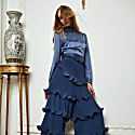 Dark Blue Pleated Ruffle Wide Leg Trouser image