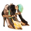 Ayla Velcro Strap Multicolor Fake Fur Sandals image
