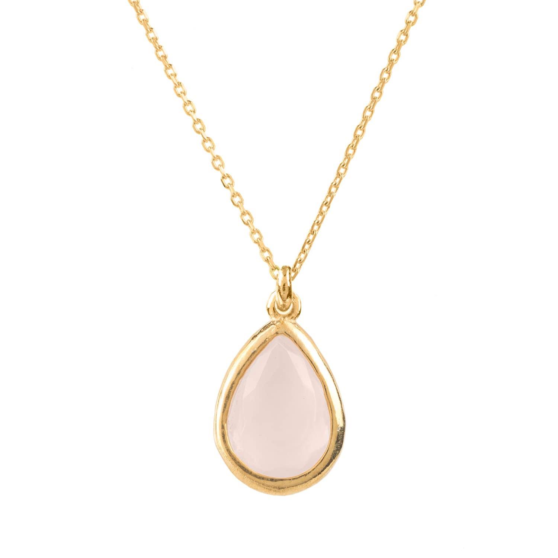 Latelita London Pisa Mini Teardrop Necklace Gold Rose Quartz Ybv5WCTG