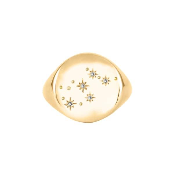 NO 13 Aquarius Constellation Signet Ring 9ct Gold & Diamonds