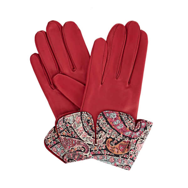 GIZELLE RENEE Palesa Fucshia Pink Leather Gloves With BB Liberty Tana Lawn