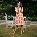 Ikat Print Linen Shirtdress Citrus image
