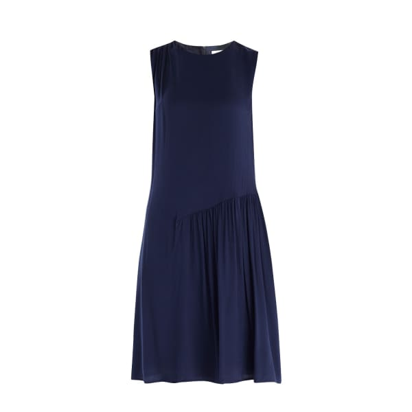 PAISIE Shift Dress with Gathered Shoulder & Side Panel in Navy