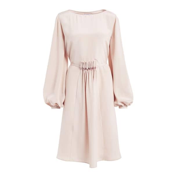 WTR  Katsina Cream Long Sleeve Knee Length Silk Dress