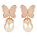 White Butterfly Baroque Pearl Earring Rosegold image