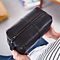 Classic Black Leather Wash Bag image