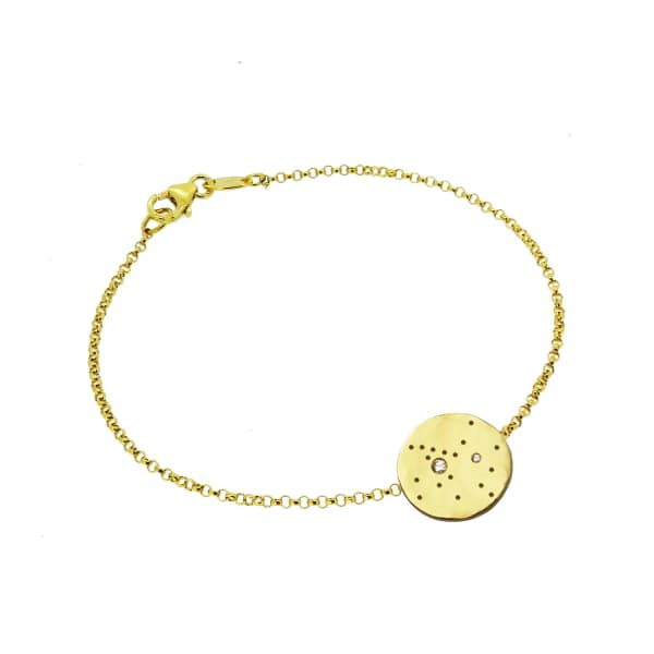 YVONNE HENDERSON JEWELLERY Sagittarius Constellation Bracelet with White Sapphires Gold