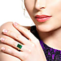 18K Yellow Gold And Diamond Carved Emerald Ring image
