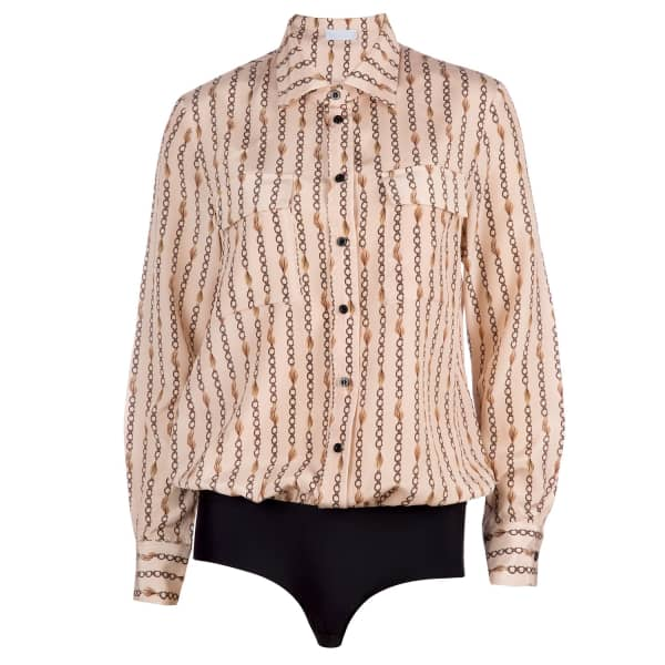 Ukulele Chain Print Silk Blouse Shirt Bodysuit