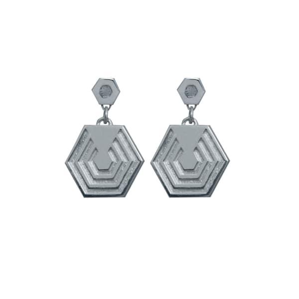 EDGE ONLY Hexagon Drop Earrings in Silver