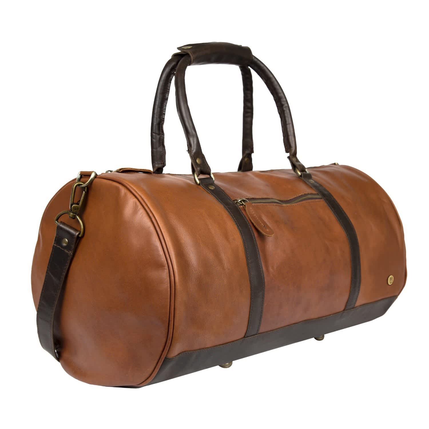 3bb36501b320 Leather Weekend Classic Duffle Holdall - Overnight Gym Bag In Vintage Brown  With Mahogany Detail
