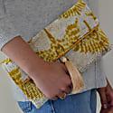 Cream & Yellow Velvet Ikat Clutch image