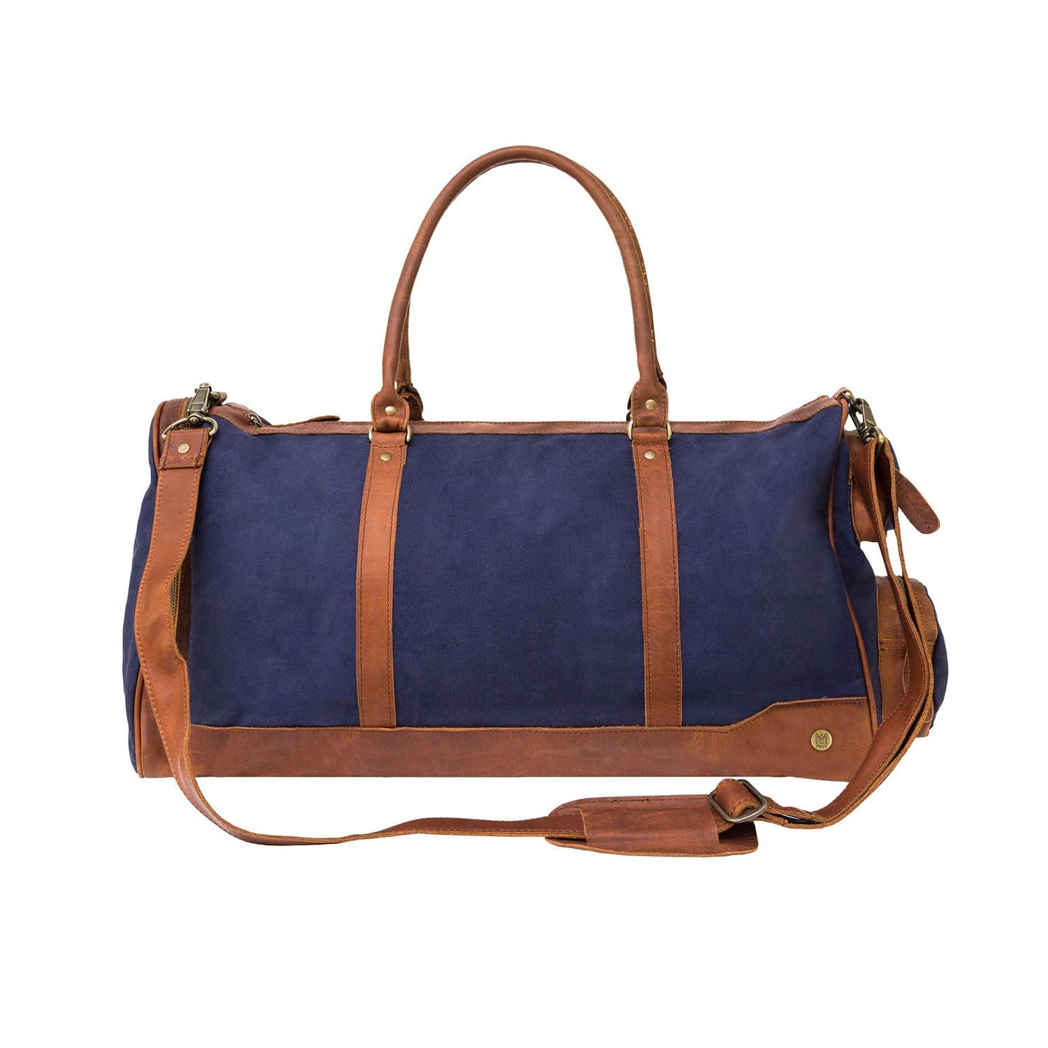 Canvas Leather Columbus Holdall Bag In Navy Blue image b9e8912a1