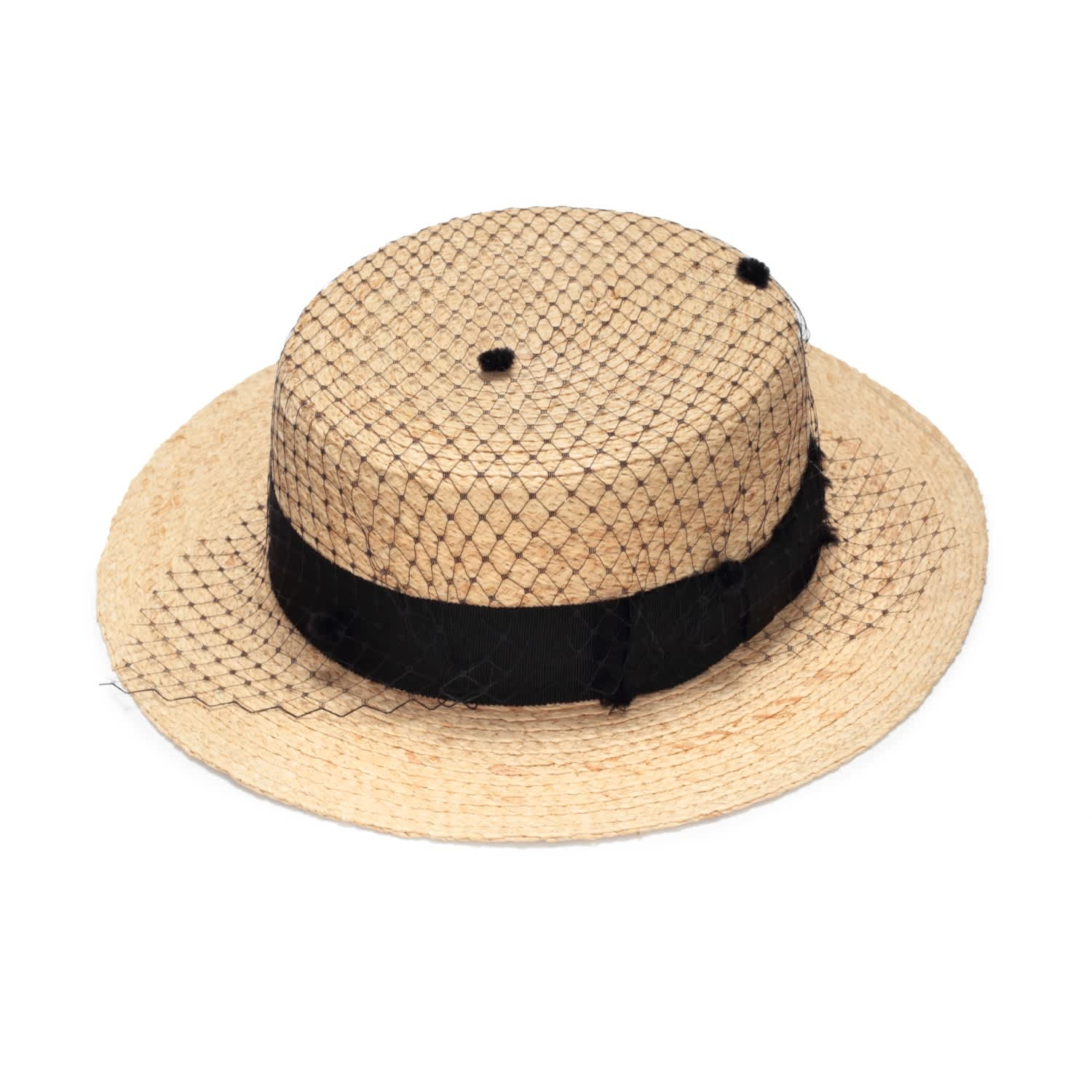 5bb6b6b643d7e Straw Boater Hat With Veil image