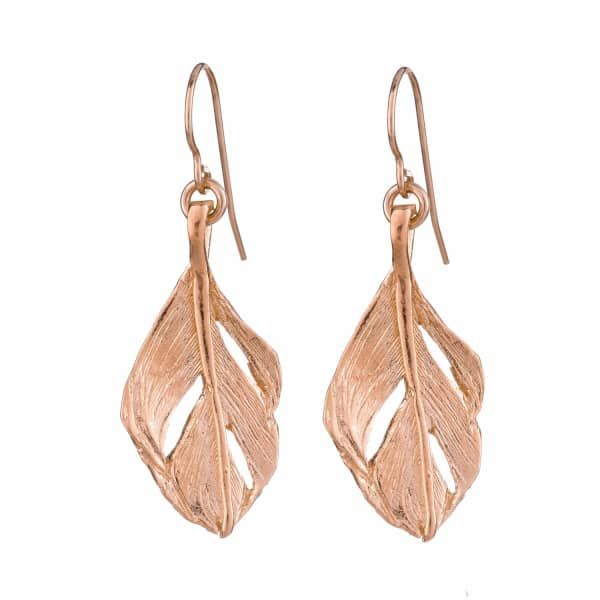 I Can Fly Midi Swan Feather Earrings Rose Gold