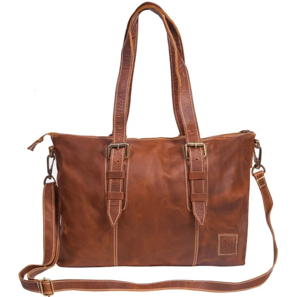 MAHI LEATHER Leather Victoria Tote Handbag in Vintage Brown With Cream Stitching Detail