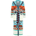 Tigress Knit Coat - Turquoise White image