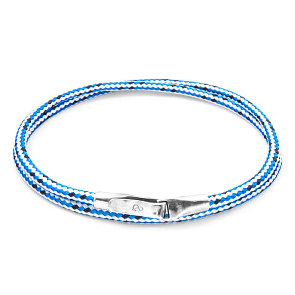 ANCHOR & CREW Blue Dash Liverpool Silver And Rope Bracelet