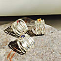 Silver Wave Ring With Yellow Citrine image