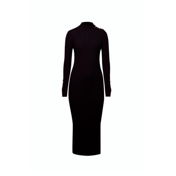 RUMOUR LONDON Adriana Maxi Ribbed Wool Dress in Black