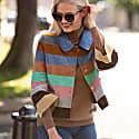 Suede Leather Short Striped Jacket - Autumn Colour Wave image