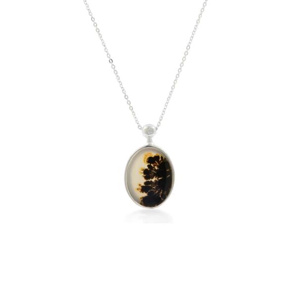 NO 13 Agate & Diamond Pendant Necklace - Silver