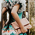 Ophelia Micro-Suede Leather Clutch - Pearl Blush image