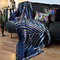Navy Palm Leaf Woven Throw Blanket image