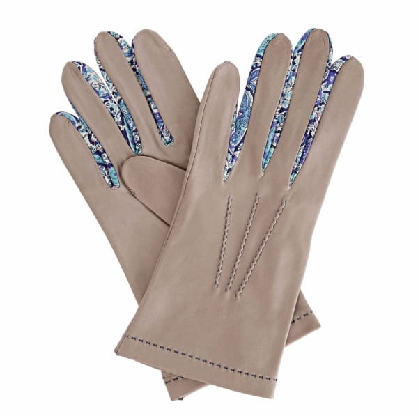 GIZELLE RENEE PhiloMENa Grey Leather Gloves With BC Liberty Tana Lawn