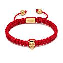 Atticus Skull Macramé Bracelet In Red & Gold image
