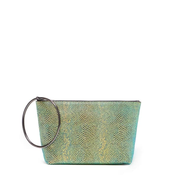 THACKER NEW YORK Large Ring Pouch In Neon Iridescent in Green