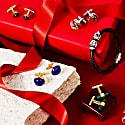 Diamond Gemstone Cufflink Ruby Gold image