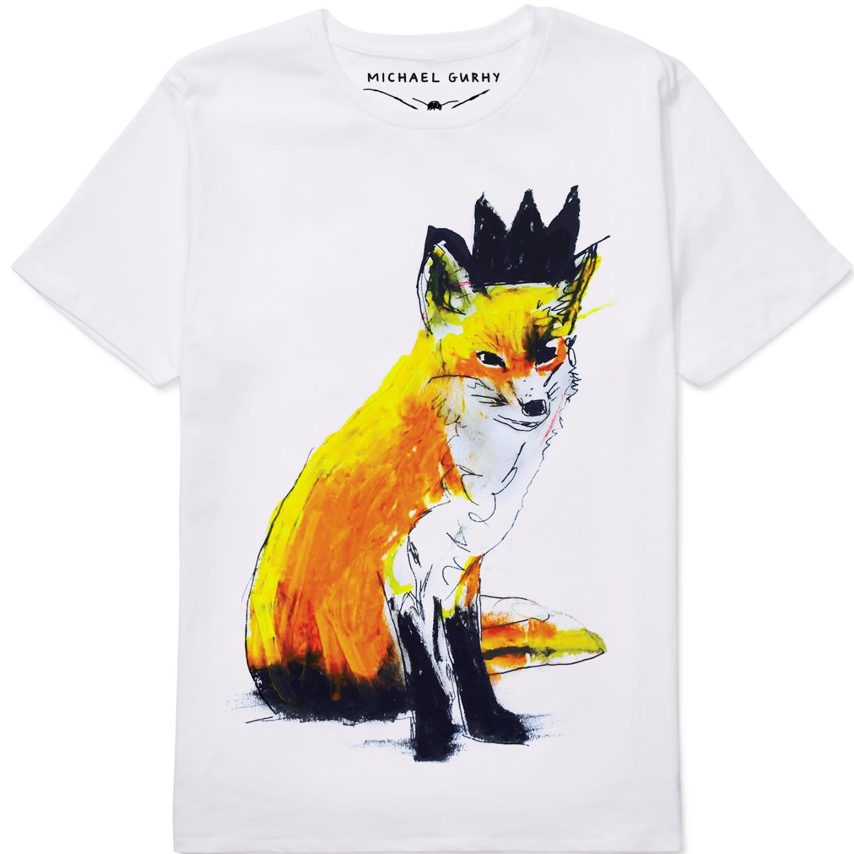 7cb66e21004 Fox With Black Crown White Organic Cotton T-Shirt