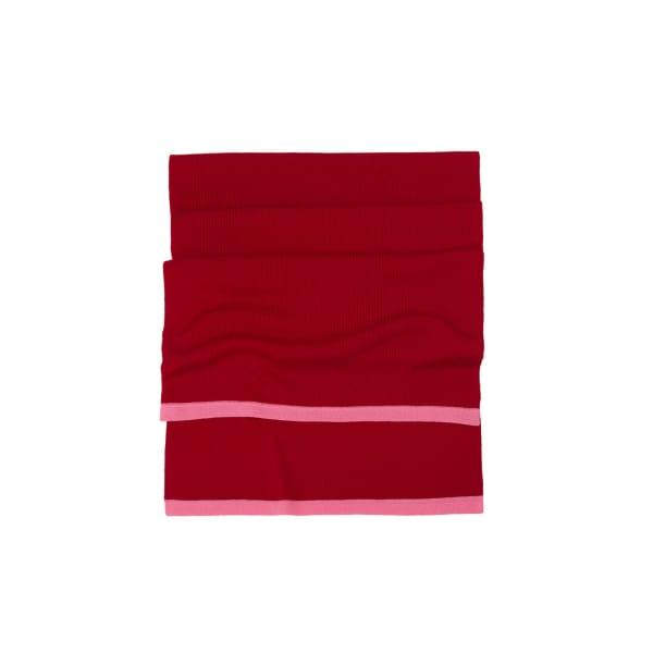 ILLE DE COCOS Merino Long Scarf Cherry Red & Flamingo Pink