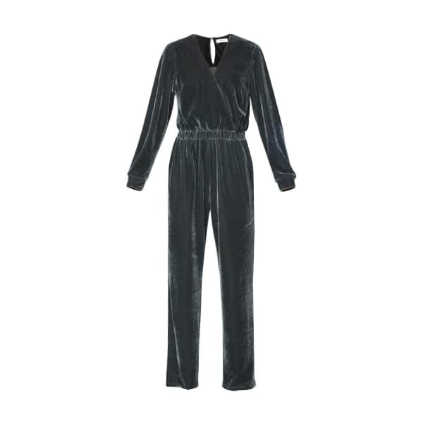 PAISIE Velvet Jumpsuit With Wrap Front & Elastic Waistband In Dark Grey