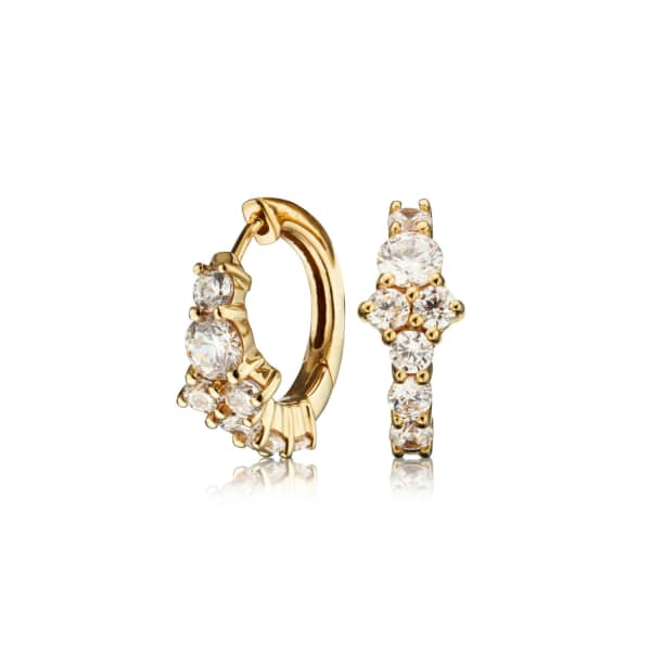 LILY & ROO Small Gold Cluster Diamond Style Huggie Hoop Earrings