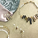 Tiger Eyes Stone & Freshwater Pearls Swinging Earrings image
