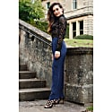 Navy Blue Silk Wide-Legged Trouser image