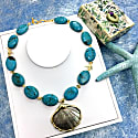 Turquoise With Shell Pendant Short Necklace image