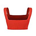 Square Neck Knit Crop Top - Orange image