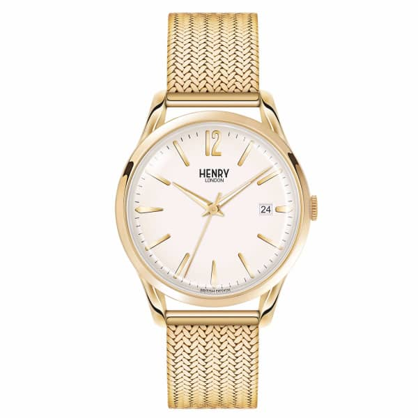 Westminster Ladies 39Mm Gold Stainless Steel Mesh Bracelet Strap Watch With Gold Stainless Steel Cas in Champagne from Wolf & Badger