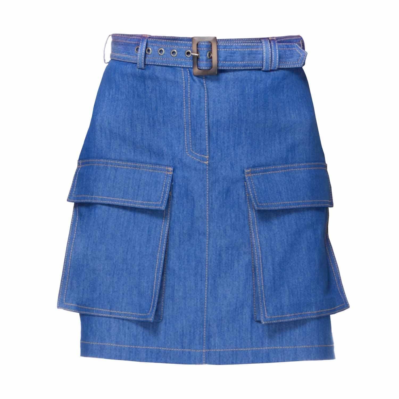 Kirsten Denim Skirt With Pockets By Diana Arno
