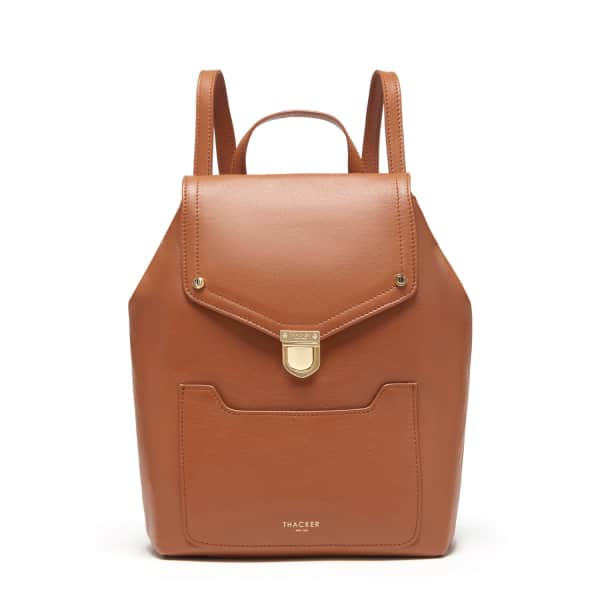 THACKER NEW YORK Frankie Backpack In Cognac & Gold