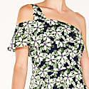 One Shoulder Floral Dress With Waist Frills In Green Navy Floral image