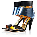 Metallic Finish Leather Sandals Blue image