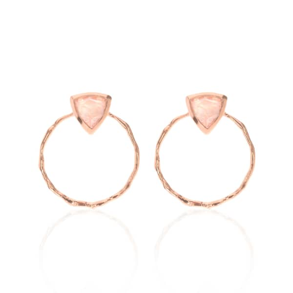 SHARON MILLS LONDON Trillion Front Facing Hoops Rose Gold